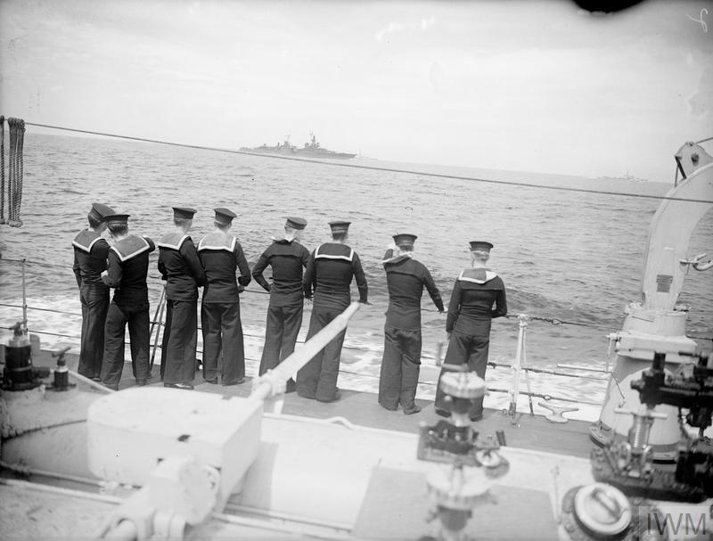 THE AUGUSTA AND HER ESCORT IN THE CHANNEL. 14 JULY 1945, ON BOARD HMS ZODIAC, ONE OF THE ESCORT SHIPS, APPROACHING THE DOWNS. THE US CRUISER AUGUSTA, CARRYING PRESIDENT TRUMAN TO THE BIG THREE MEETING, APPROACHED THE DOWNS WITH HER ESCORT OF THE BRITISH CRUISER HMS BIRMINGHAM AND HM DESTROYERS SERAPIS, OBDURATE, OBEDIENT, ZEALOUS, ZEPHYR, AND ZODIAC, AND THE US CRUISER PHILADELPHIA.