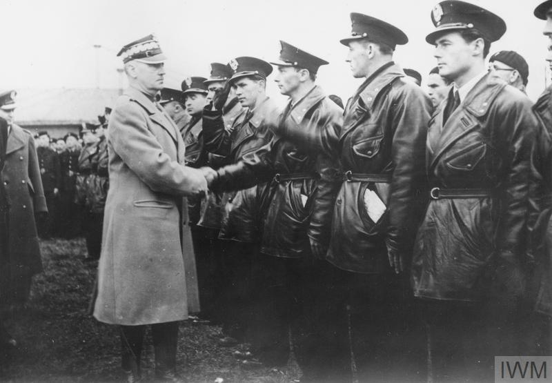 General Wladyslaw Sikorski, Commander-in-Chief of the Polish Armed Forces, inspects Polish airmen 15 April 1940