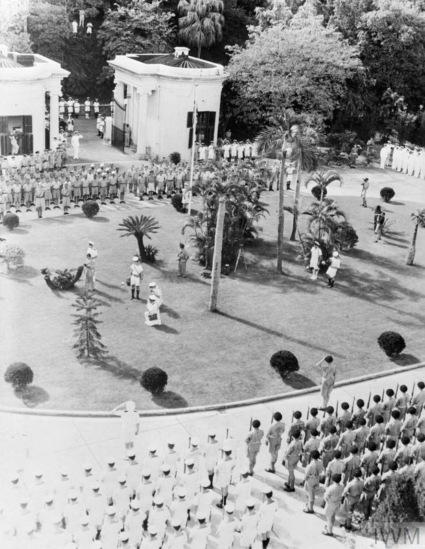HONG KONG SURRENDER CEREMONY. 16 SEPTEMBER, WHEN REAR ADMIRAL C H J HARCOURT, CB, CBE, ACCEPTED THE UNCONDITIONAL SURRENDER OF ALL JAPANESE FORCES IN HONG KONG AT A CEREMONY IN GOVERNMENT HOUSE.