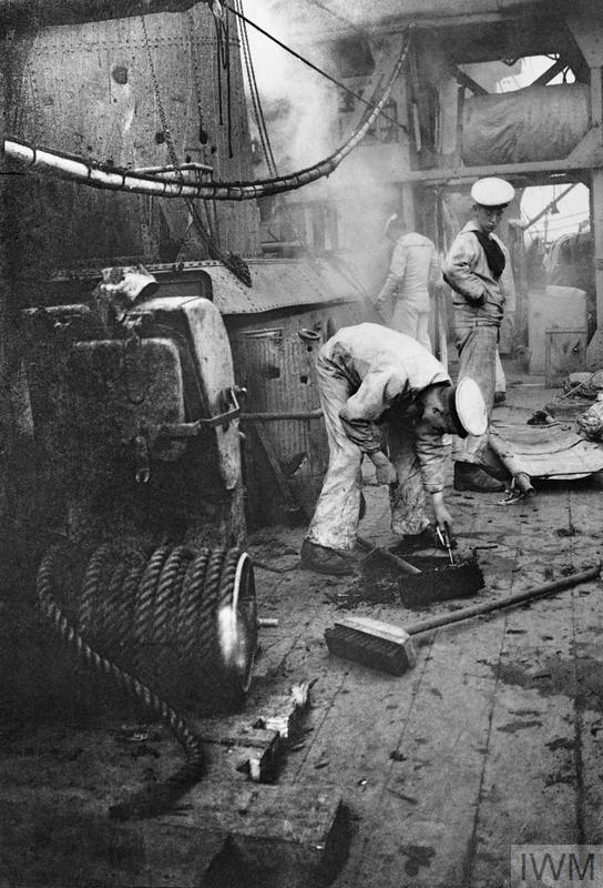 Damage to the deck of HMS Chester sustained during the Battle of Jutland.