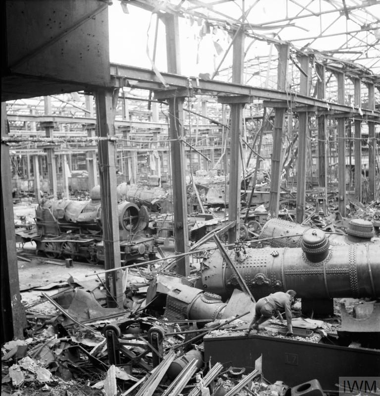 © IWM (CL 2557) Part of the locomotive shop of the Krupps AG works at Essen, Germany, seriously damaged by Bomber Command in 1943, and further wrecked in the daylight raid of 11 March 1945