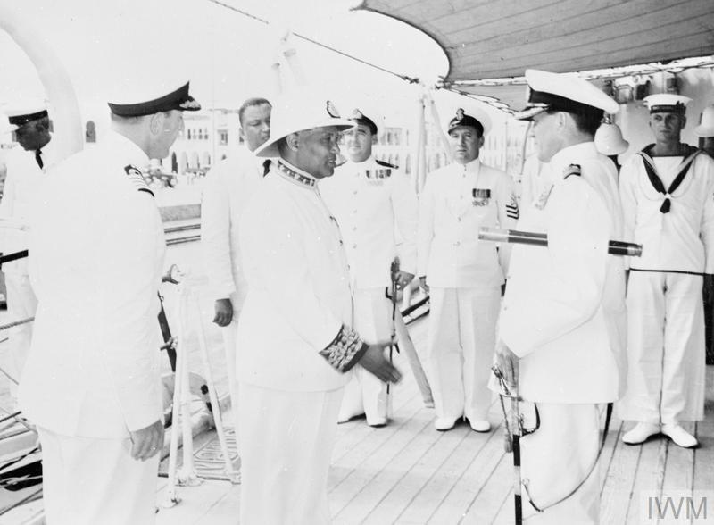 HMS GAMBIA PAYS FORMAL VISIT TO MASSAWA. 10 FEBRUARY 1956, ON BOARD THE CRUISER HMS GAMBIA, DURING HER FOUR DAY FORMAL VISIT TO MASSAWA ON HER JOURNEY HOME TO THE UNITED KINGDOM AFTER PAYING-OFF.