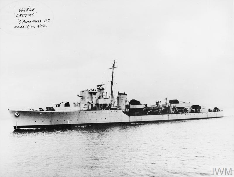 Hms Croome  British Hunt Class Destroyer  3 July 1941