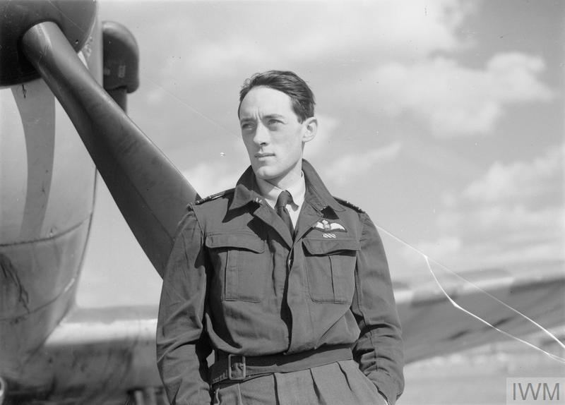 Squadron Leader Brian 'Sandy' Lane DFC, CO of No. 19 Squadron, standing in front of a Spitfire at Fowlmere, 21 September 1940.