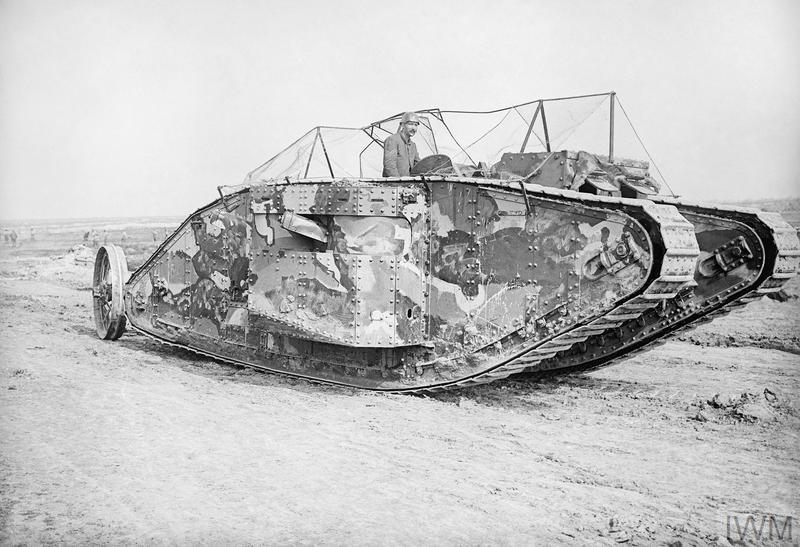 The first official photograph of a tank going into action at the Battle of Flers-Courcelette, 15 September 1916