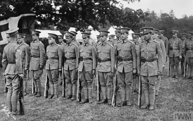 Cambridge University Officer Training Corps on parade in a Surrey camp.