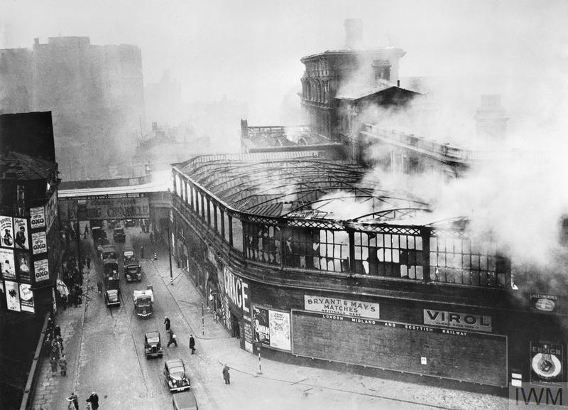 The smoking ruins of Manchester's Exchange station after air raids in December 1940.