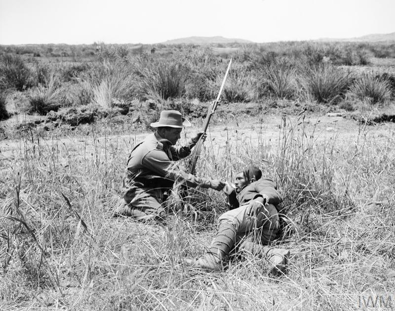 An Australian infantryman gives a drink to a wounded Turkish soldier during the Gallipoli Campaign in 1915. Achi Baba can be seen in the background.
