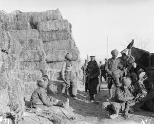 Indian muleteers waiting for their loads at an Army Service Corps forage dump near Salonika, 1915. BRITISH FORCES DURING THE SALONIKA CAMPAIGN 1915-1918