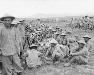 French Indo-Chinese Marine Infantry (Tirailleurs indochinois) of either the 1st or 2nd Battalion Tirailleurs Annamites rest in a military camp near Salonika soon after their arrival in Macedonia, May 1916. FRENCH FORCES IN THE SALONIKA CAMPAIGN 1915-1918