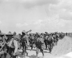 Men of the 1st Royal Irish Regiment marching along the Seres Road into the Struma Valley, June 1916. BRITISH FORCES DURING THE SALONIKA CAMPAIGN 1915-1918
