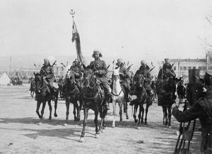 A section of Spahis (French colonial cavalry from Morocco) on parade in Salonika. These troops formed part of the Brigade Jouinot-Gambetta that captured Skopje on 29 September 1918. FRENCH FORCES IN THE SALONIKA CAMPAIGN 1915-1918