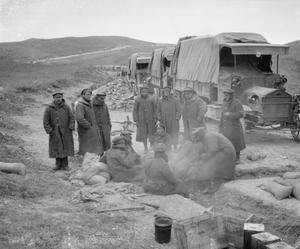A convoy of lorries from 689 Motor Transport Company (ASC) halted on the Seres Road whilst the drivers have a tea break, ca.1917. BRITISH FORCES IN THE SALONIKA CAMPAIGN 1915-1918