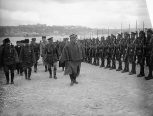 General Franchet d''Esperey, Commander of Allied forces in the Balkans (June 1918-1920), landing at Constantinople on 8 February 1919. Accompanying him is General Sir Henry F.M. Wilson, former commander of XII Corps, British Salonika Force. ALLIED COMMANDERS OF THE SALONIKA CAMPAIGN 1915-1918