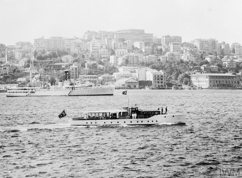 MEDITERRANEAN FLEET VISITS ISTANBUL. 27 JULY TO 3 AUGUST 1953, ISTANBUL. MANY IMPORTANT TURKISH NAVAL AND POLITICAL REPRESENTATIVES WERE RECEIVED ON BOARD HIS FLAGSHIP HMS GLASGOW BY THE COMMANDER IN CHIEF MEDITERRANEAN, ADMIRAL THE EARL MOUNTBATTEN OF BURMA. THE VISIT TO ISTANBUL WAS PART OF THE MEDITERRANEAN FLEET'S SUMMER CRUISE.