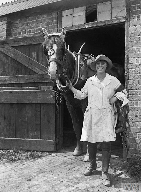 A member of the Women's Land Army leads a horse out from the stables during the First World War.