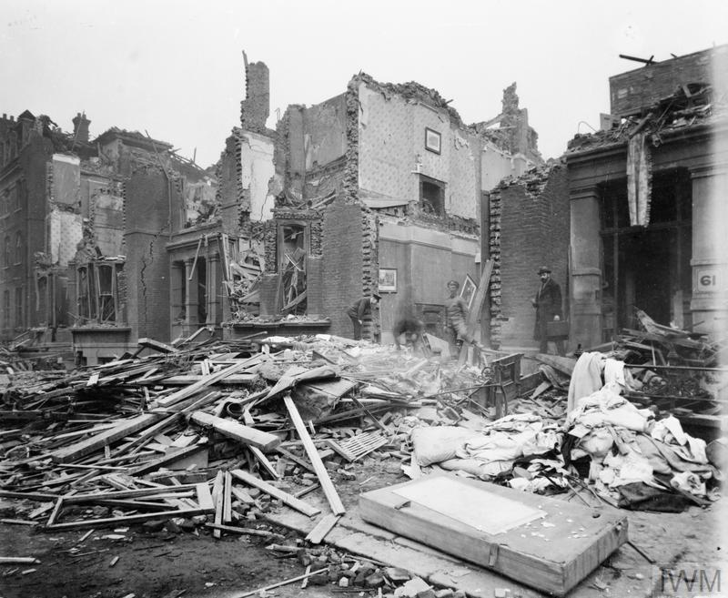 Bomb damage to 61 - 67 Warrington Crescent in St John's Wood, London, following the German air raid on the night of 7 - 8 March 1918.