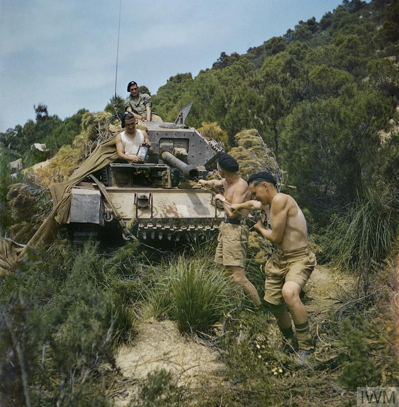 Sergeant Elms of 16/5 Lancers and his tank crew at El Aroussa