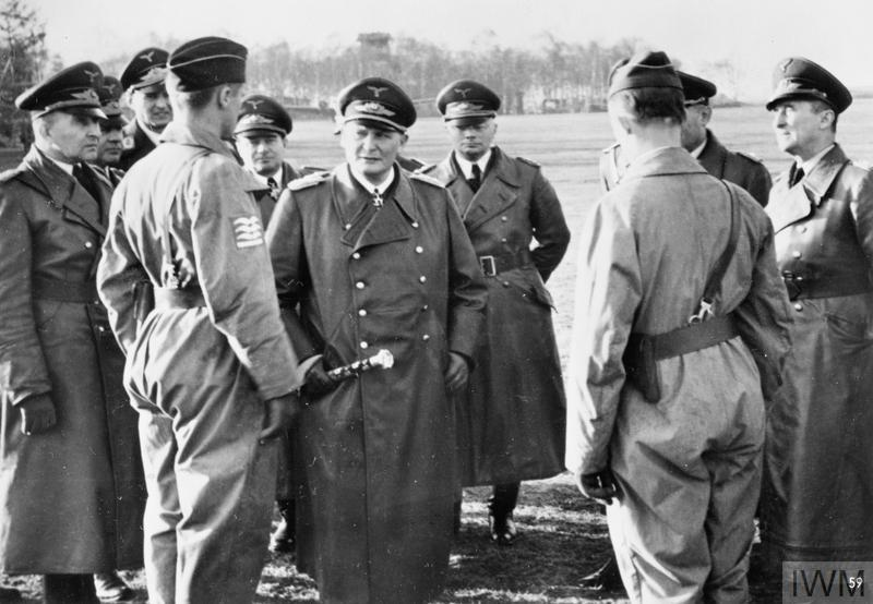 Field Marshal General Goering made an inspection tour of the Atlantic Wall at the beginning of March and talked to German pilots, who just returned from a combat mission.