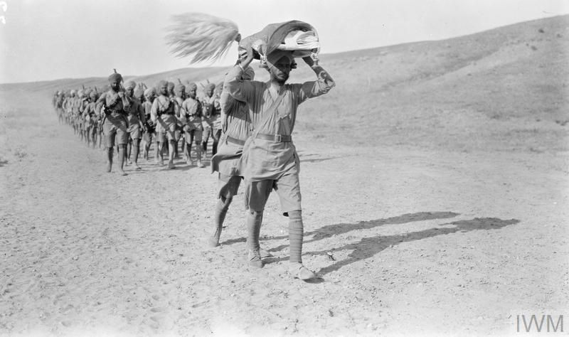 Men of the 45th Sikhs (52nd Infantry Brigade, 17th Division) marching on campaign in Mesopotamia