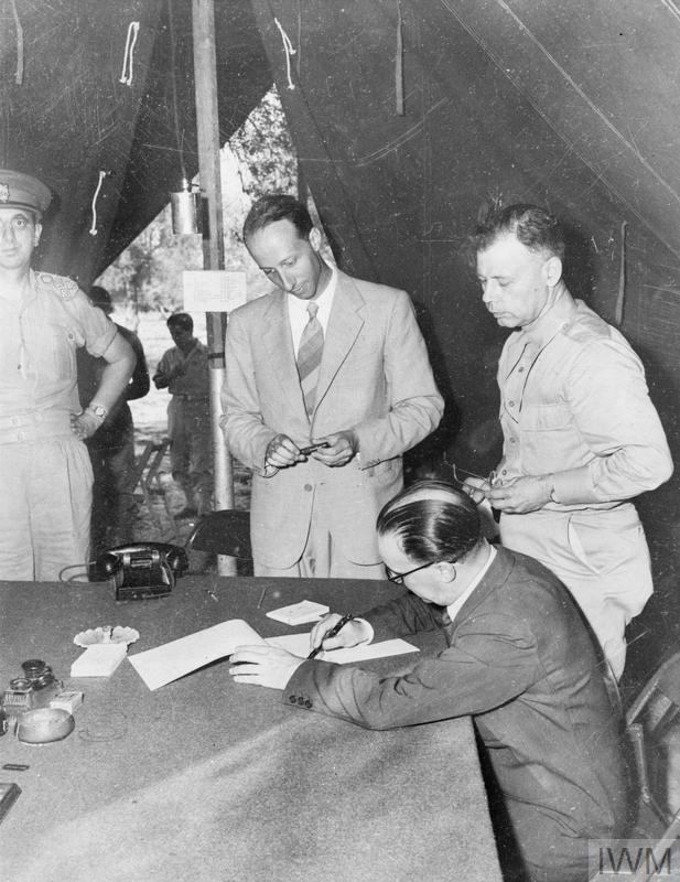 THE OFFICIAL SIGNING IN SCILY AT THE ADVANCED ALLIED HEADQUARTERS OF THE ITALIAN ARMISTICE, ON 3 SEPTEMBER 1943