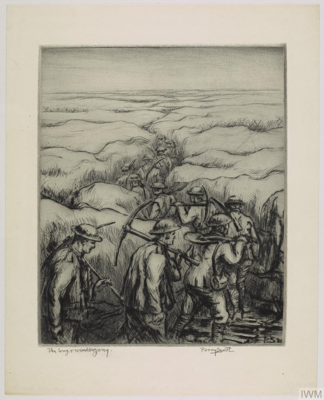 A group of Engineers walking through a meandering trench, each with a pickaxe on his shoulder.