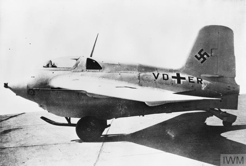 """Messerschmitt Me 163B """"Komet"""" (VD+ER). This was the 8th prototype aircraft of the Me 163B. The Komet was a short-range rocket interceptor introduced in late 1944. The """"Komet"""" had a phenomenal rate of climb and speed but only a few minutes flight duration at full power. Its wild handling qualities and explosive fuel mixture meant accidents were very common."""