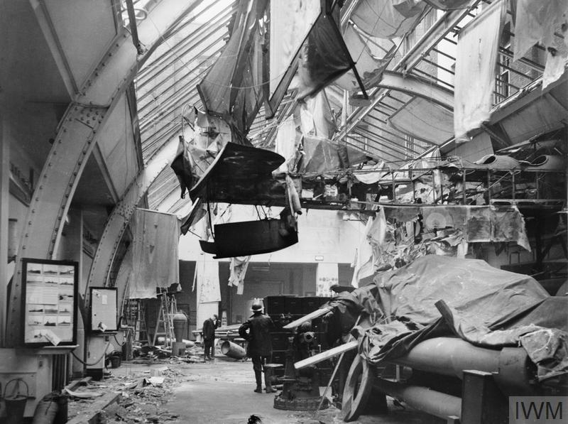 Air raid damage to the Naval Gallery at the Imperial War Museum, London, 31 January 1941.