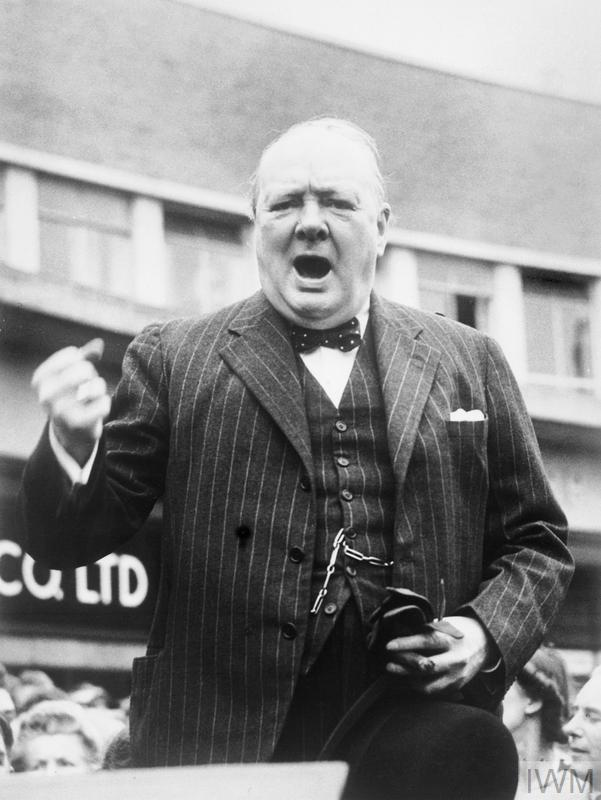 The Prime Minister Winston Churchill makes a speech in Uxbridge, Middlesex, during the general election campaign on 27 June 1945.