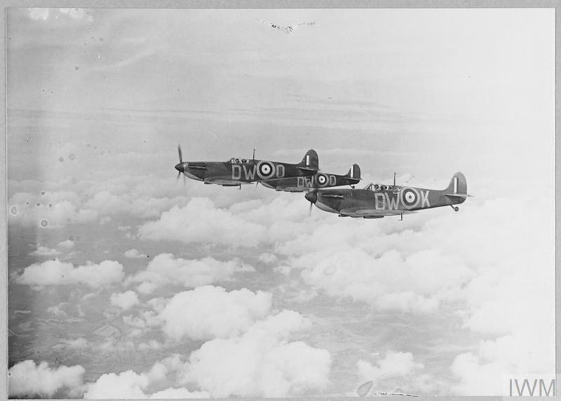 Spitfires of No. 610 Squadron, based at Biggin Hill, flying in 'vic' formation, 24 July 1940.