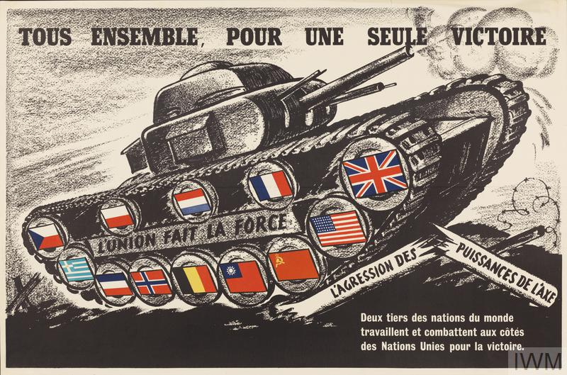 French propaganda poster featuring a tank and the words 'All together, for a single victory.' in French