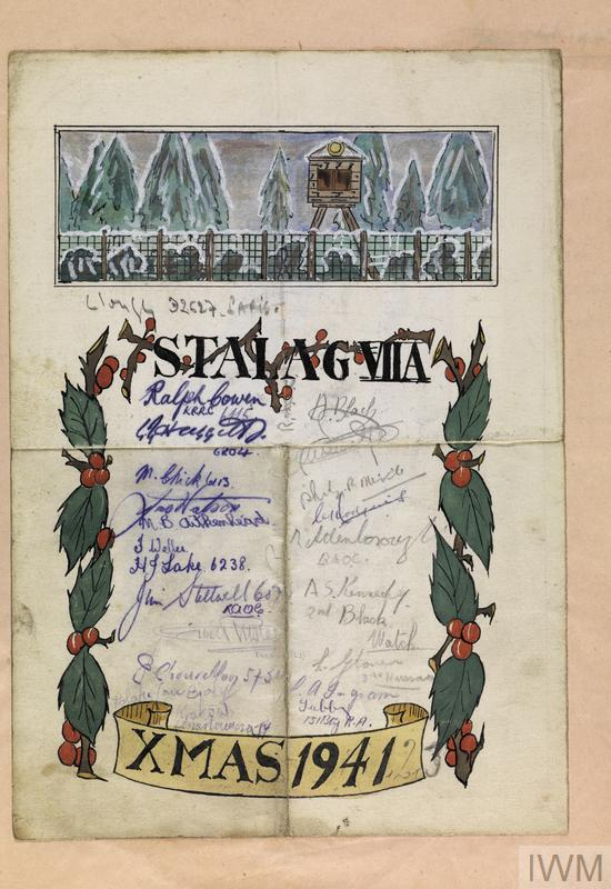 ©IWM (Documents.8587/A) Handmade Christmas card from German prisoners of war still held in Farnborough, Hampshire, in 1947.
