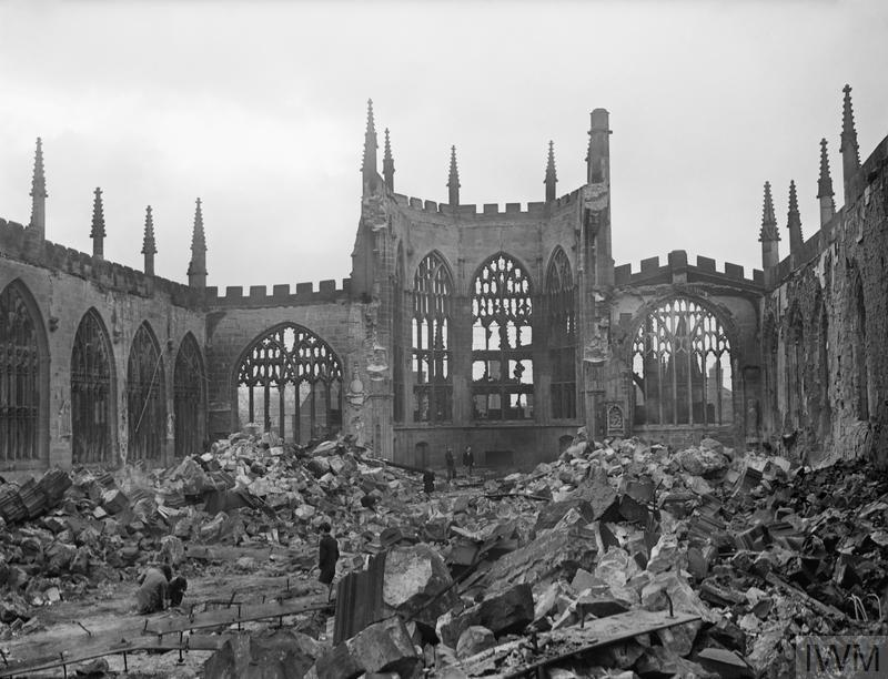 The ruins of Coventry cathedral two days after the German Luftwaffe air raid on the city on the night of 14 November 1940.