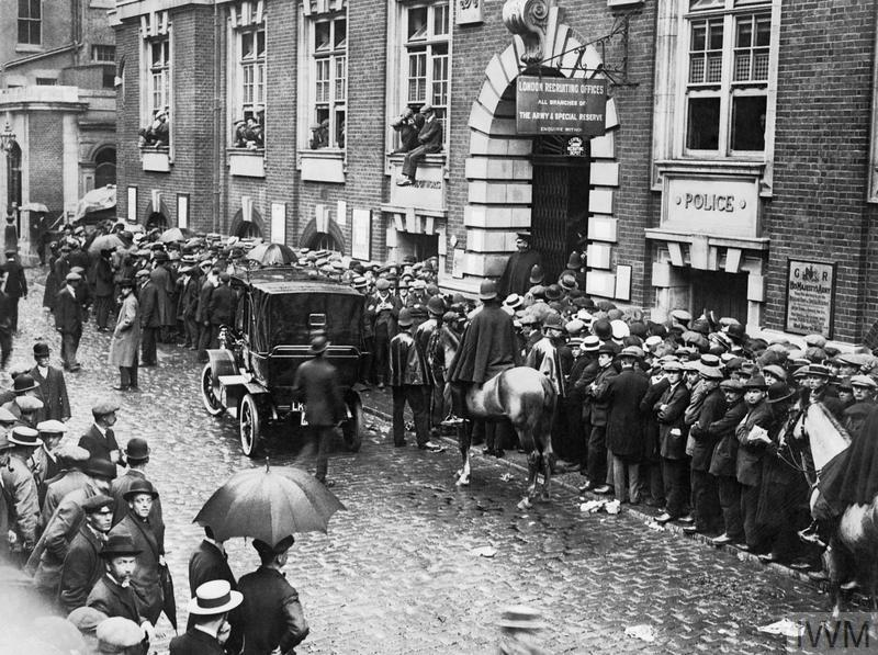 Recruits at the Whitehall Recruiting Office in London, August 1914
