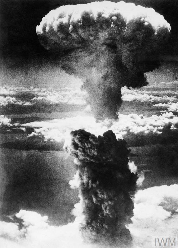 The mushroom cloud over Nagasaki.