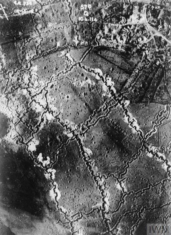 Aerial vertical view showing trench lines of Beaumont Hamel, 10 October 1916. British trenches are on the bottom left.