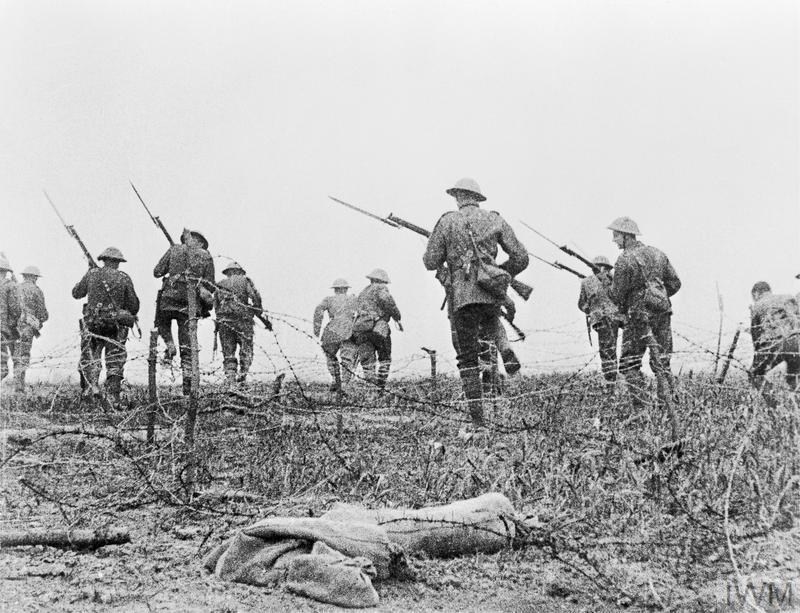 "Still from the film ""Battle of the Somme"": British troops go forward in 'No Man's Land'."