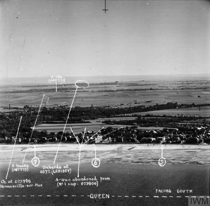 Annotated view of Queen Beach, Normandy.
