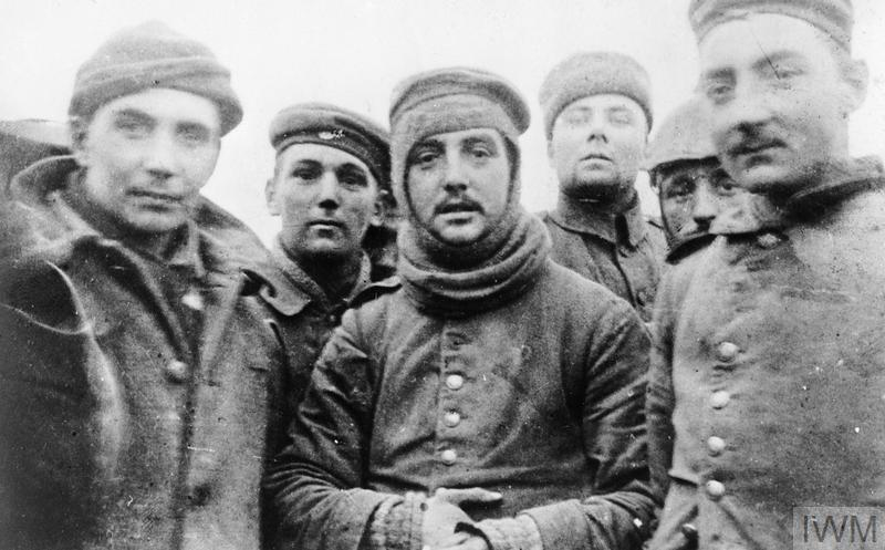 British and German soldiers fraternising at Ploegsteert, Belgium, on Christmas Day 1914, Front of 11th Brigade, 4th Division.