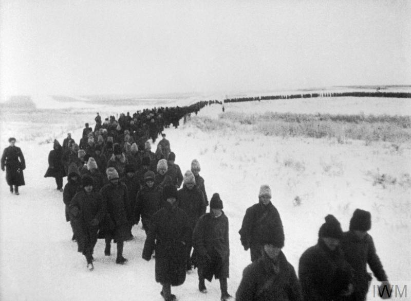 (© IWM MH9701) A line of Romanian prisoners captured during the Battle of Stalingrad in late 1942 or early 1943