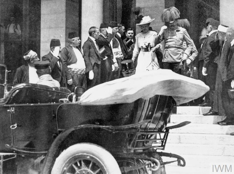 Archduke Franz Ferdinand of Austria and his wife descend the steps of the City Hall, Sarajevo to their motor car, a few moments before their assassination.