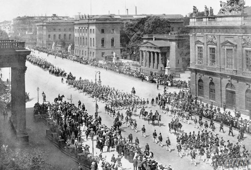 A military parade along Unter den Linden, Berlin shortly before the First World War.