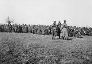 The 5th Connaught Rangers preparing to march toward the front line in Serbia, November 1915.