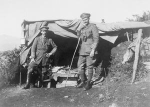 Lt Col Jourdain and Captain J B E Massy (adjutant) outside the large bivouac shelter at Kajali, which was used as Battalion HQ whilst the 5th Connaught Rangers were in the line on Kosturino Ridge, November - December 1915.