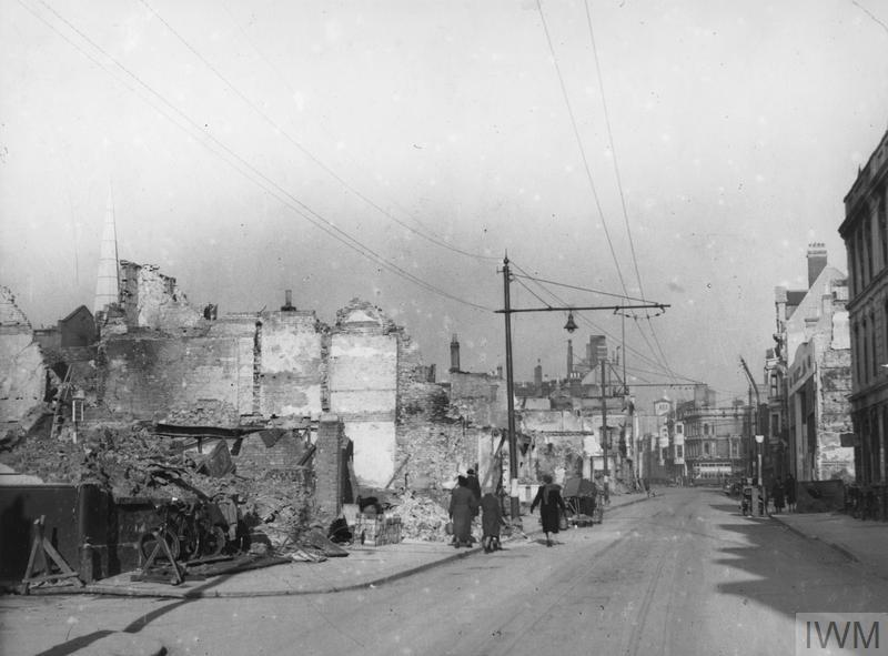 Lower High Street, Southampton after the air raids of 30 November and 1 December 1940.