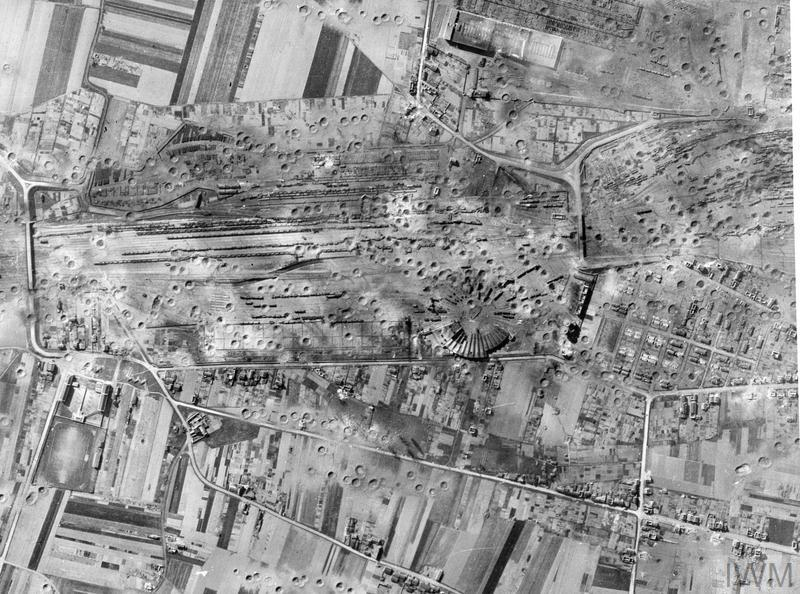 © IWM (C 4332) Vertical photographic-reconnaissance aerail showing severe damage to the St Pierre des Corps marshalling yards at Tours, France, after the raid by 180 Avro Lancasters of No. 5 Group, Bomber Command, on the night of 10/11 April 1944.