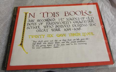 Farnworth Grammar School Book Of Service | War Imperial War
