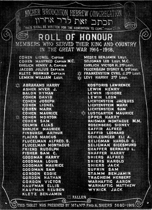 Higher Broughton Hebrew Congregation-WW1 Board (LOST)   War