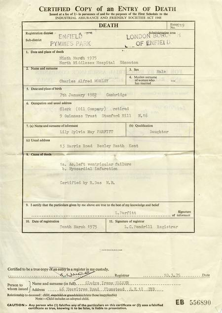 Death certificate of Charles Alfred Morely