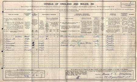 1911 census William Watson with his family